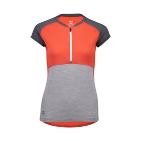 Mons Royale Womens Bella Tech Zip Tee poppy/charcoal/grey...